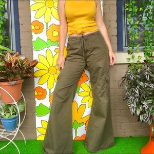 Vintage army green cargo bell bottoms 90s club kid